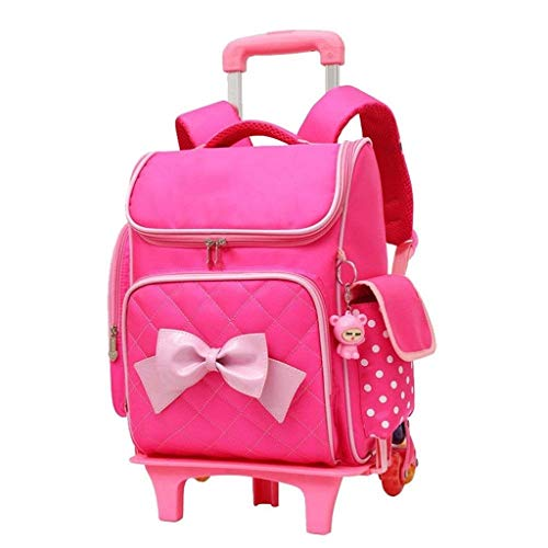 SHIJIAN Trolley Bag Sac mignon à imprimer Bowknot Trolley Sac à dos École élémentaire Rolling Bag à roulettes Sac à bandoulière étanche avec petite poupée Cuty for enfants filles 30 (L) * 15 (W) * 40c