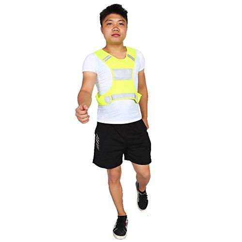 Gilet Riflettente di Sicurezza, Regolabile Ad Alta visibilità Gilet per Gli Le attività Sportive Notturne Attrezzatura di Sicurezza, 200 Metri Visibili(L, Giallo Fluorescente)