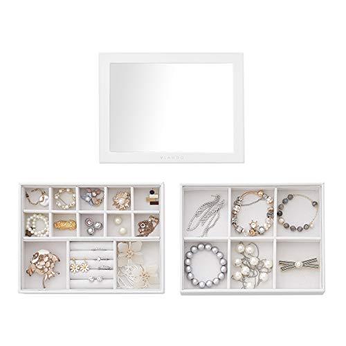 Vlando - Vassoio portagioielli impilabile, in similpelle, per orecchini, collane, bracciali, anelli, colore: 2 strati di 6 gird e porta anelli con coperchio, bianco, cod. JB146-157