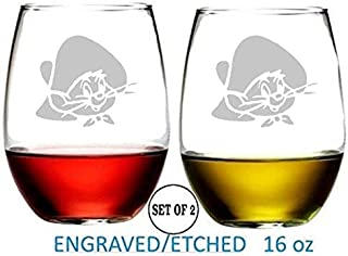 Speedy Gonzales Stemless Wine Glasses Etched Engraved Perfect Fun Handmade Gifts for Everyone Set of 2