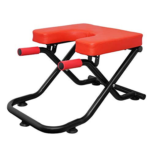 Veocore Yoga Inversion Bench Headstand Chair Upside Down U-Shaped Stool Gym Exercise with Armrest Auction Cup Stable and Safe - Red