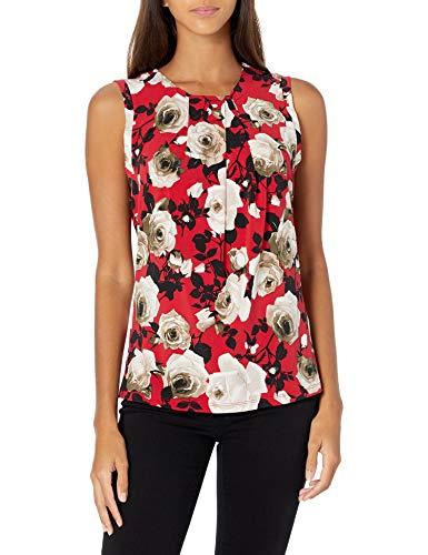 Karl Lagerfeld Paris Damen Sleeveless Foldover Neck Top Hemd, Rubin Multi, Mittel
