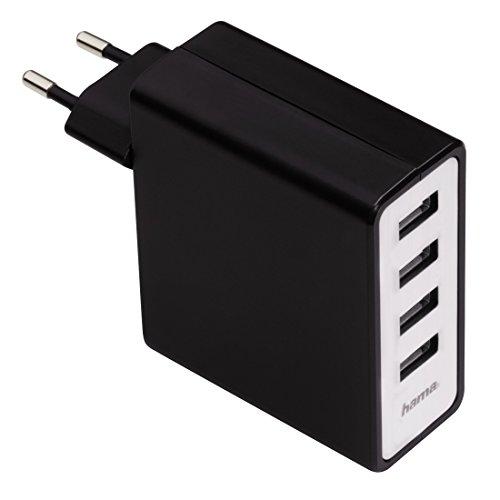 Hama Ladegerät 4-Port mit Auto-Detect (5100 mA, 4 USB Anschlüsse, maximale Ladegeschwindigkeit durch automatische Geräterkennung für Apple-Geräte, Smartphones, Tablets) schwarz