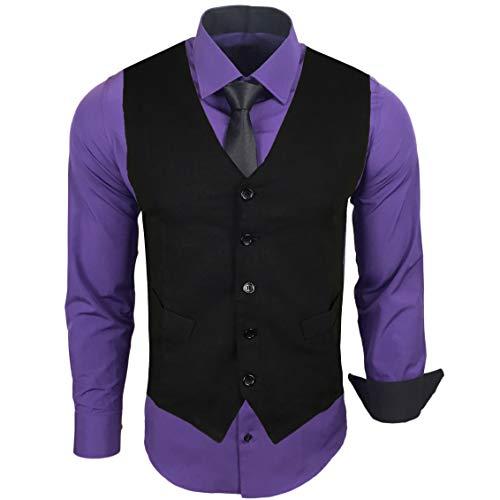 Rusty Neal Herren Hemd mit Weste Krawatte Anzugs Sakko Business Hochzeit Freizeit Hemden Set wählbar RN-44-HWK, Größe:XL, Farbe:Lila