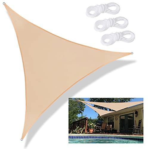 Tende da Sole per Esterno, Tenda a Vela Triangolare 3.6 x 3.6m, Vele Ombreggianti Impermeabili Protezione UV con Antivento Traspirante, Telo Ombreggiante per Terrazzo Balconi Giardino e Outdoor