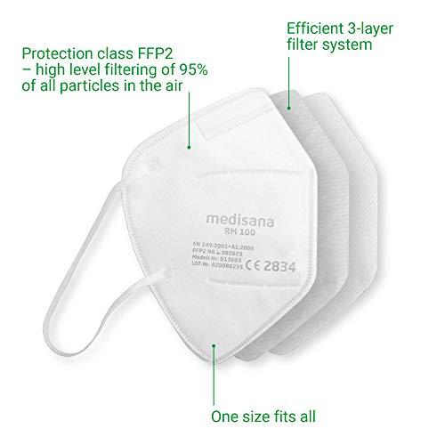 Medisana FFP2/KN95 5x Atemschutzmasken Staubmaske RM 100 Atemmaske 3-lagige Staubschutzmaske Mundschutzmaske einzelverpackt im PE-Beutel zertifiziert CE2834 - EU 2016/425 - 4