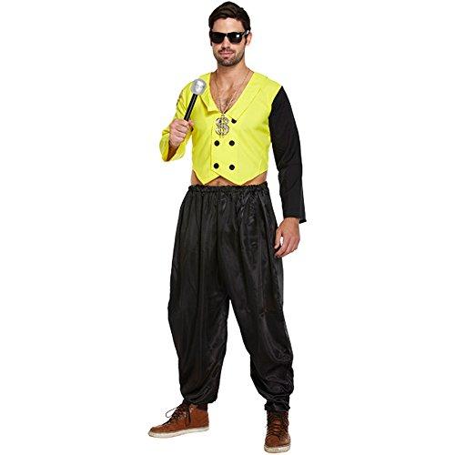 80er Jahre Rap King Erwachsenen Kostüm (Gelb/Schwarz)