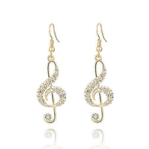 Orecchini pendenti per donne, orecchini pendenti con note musicali Orecchini oro e argento con orecchini pendenti in acciaio inox con cristalli (Placcato oro)