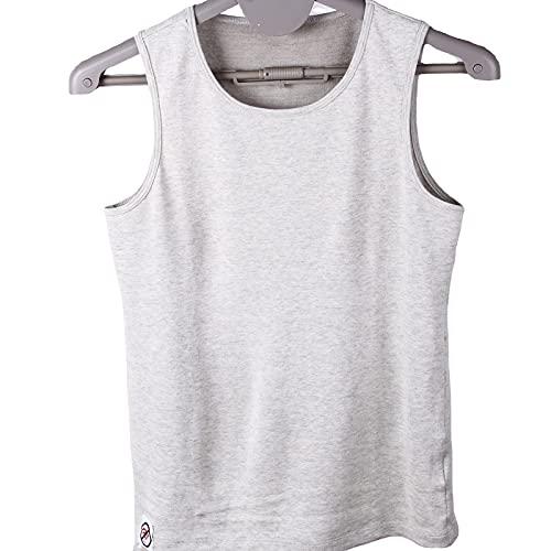 TSMALL Camisetas con protección EMF/RF para Hombre, Camiseta sin Mangas antirradiación, Chalecos de Fibra de algodón 100% Plateado,Gris,M