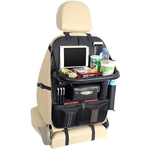Yinleader Premium PU Auto Rückenlehnenschutz, Rücksitz-Organizer mit 4 USB-Ladeanschlüsse, Klappbarer Tabletttisch, iPad Mini-Halter Multi Taschen inklusive Tissue Box Autositzschoner Wasserdicht