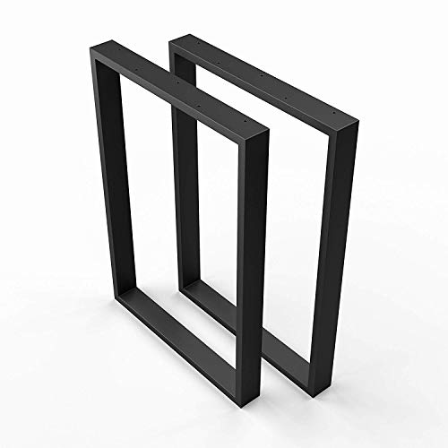 sossai® Design Pied de Table en Profilés d'Acier TKK1| 2 pièces | Armature de Table | Largeur 50 cm x Hauteur 72 cm | Couleur : Noir | acier de haute qualité