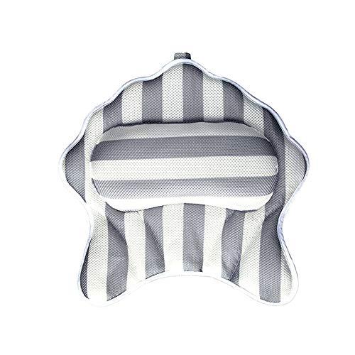 Bagima Almohada de baño, almohada ergonómica 3D para spa con 6 ventosas, antideslizante de secado rápido, almohada de baño de malla de aire transpirable para bañera, se adapta a la mayoría de tamaños
