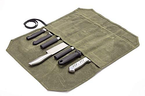 12OZ Toile Ciré Chef Couteau De Rangement Sac De Poche Portable 7 Couteaux Couteau Coutellerie Outil Case pour Pro Chef ou Passionné De Culinaire