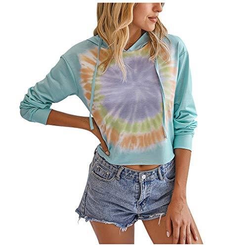 HOTHONG Sweat-Shirt Pull Tie-Dye Sweat à Capuche Top Manches Longues Blouse Col Rond Hoodies Casual Sweatshirt Chemise Haut Basique DéContractéS Tops