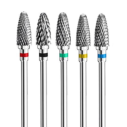 Fantexy, set di punte per unghie in acrilico, punte professionali in tungsteno, per nail art, manicure e pedicure, strumenti per la rimozione di strumenti per il salone di casa (5 pezzi)