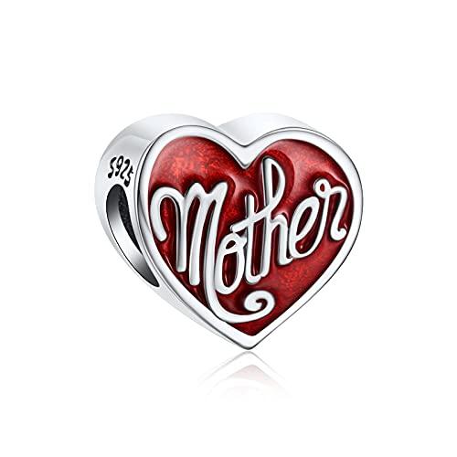NINGAN I Love Mum Charm encaja en Pandora Charms Bracelet 925 Sterling Silver Love Heart Charm - Mother's Day Birthday Jewelry Gift for Women