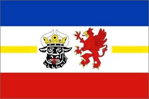 Fahne MECKLENBURG-VORPOMMERN Flagge, Grösse: ca. 90x150 cm, Ordentliche Stoffqualität - KEINE hauchdünne Chinaware - Stoffgewicht ca. 90 gr/m2
