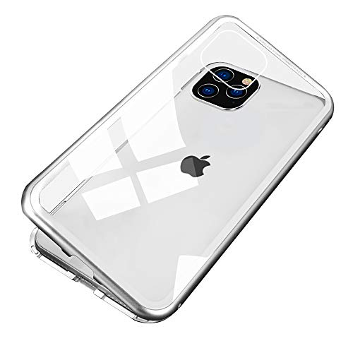 Jonwelsy Funda para iPhone 11 Pro MAX, Adsorción Magnética Bumper Metal con Flip Cover Imán Construido en, Vidrio Templado Transparente Back Cover Case para iPhone 11 Pro MAX (6,5 Pulgada) (Blanco)