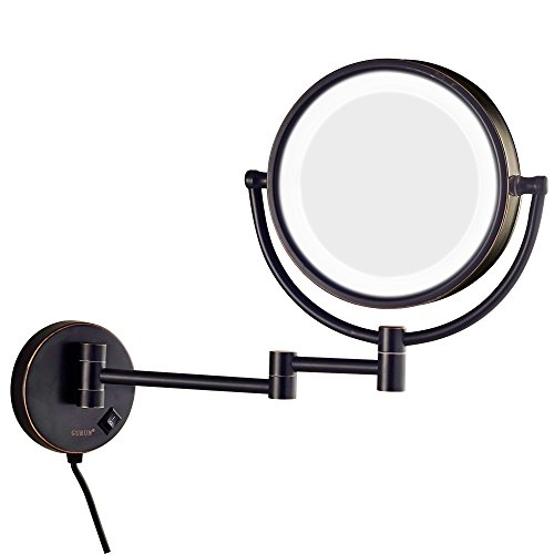 GURUN 8.5 Inch Magnifying Makeup Mirror with 3 Tones LED Lights,Double Sided Vanity Mirror with 7X Magnification,Plug Powered M1809DO (Oil Rubbed Bronze/7X)