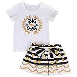 HaiQianXin 2pcs Neonato Pagliaccetto del Bambino del Capretto delle Ragazze del Bambino/Maglietta + Vestiti Casuali di Compleanno del Pannello Esterno Messi (Color : Big Sister, Size : 2-3Y)