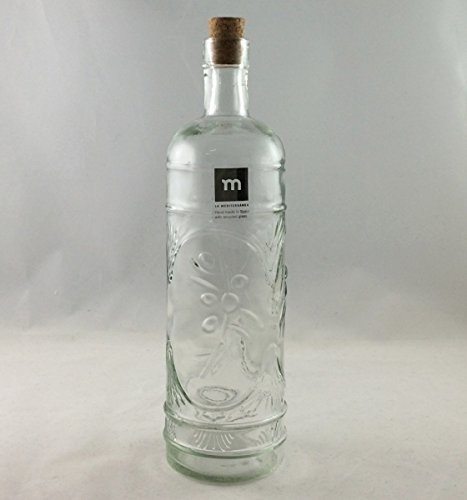 AS4HOME Vorratsflasche Karaffe Olivas mit Ornament-Relief und Korken - La Mediterranea - Recyclingglas
