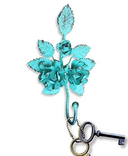 Key Holder for Wall Décor. Lovely Vintage Wall Hook for Hanging Keys, Hats, Coats. Decorative Towel Hooks for Bathrooms. A Shabby Chic Accent for Your Rustic Farmhouse Home Décor (Turquoise)