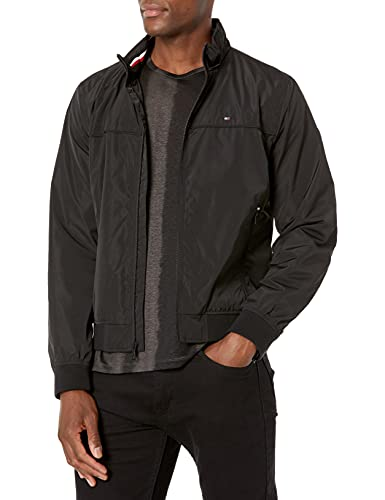 Tommy Hilfiger Men's Performance Faux Memory Bomber Jacket, black Unfilled, Small