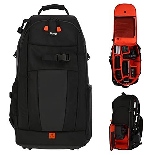 Rollei Fotoliner Ocean L: Großer Kamerarucksack aus 36 recycleten PET-Flaschen, inkl. Regenschutz, Handgepäck-geeignet,schwarz