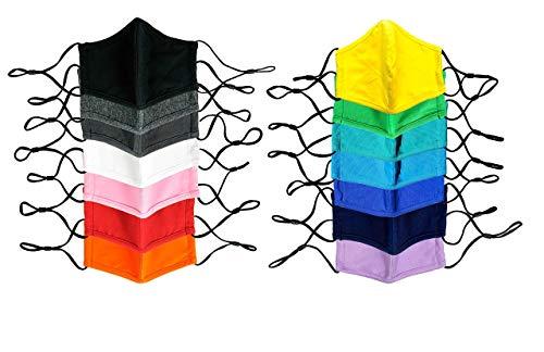 10+Pack Adult Reusable Washable Cotton Face Masks, 2-ply, 3D Fit, Filter Pocket, Adjustable Ear Loops, Wholesale Bulk, Variety Pack, Assorted Colors