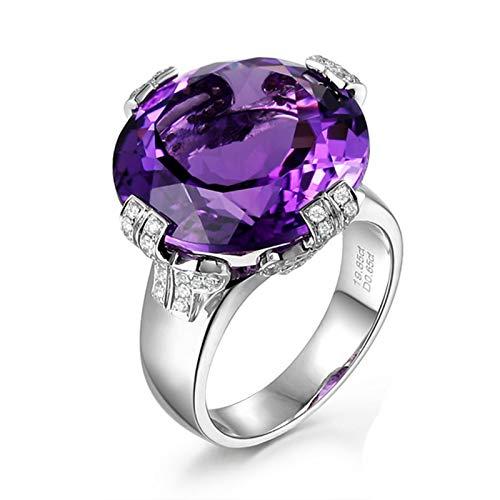 Beydodo Ring 750 Weißgold Damen, Verlobungsring Rund Groß Amethyst 19.85ct Hochzeit Ringe Weißgold Gr.58 (18.5)