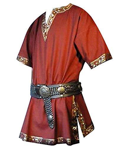 Hombres Manga Corta Renaissance Medieval De Los Camisa Casual con Cuello En...
