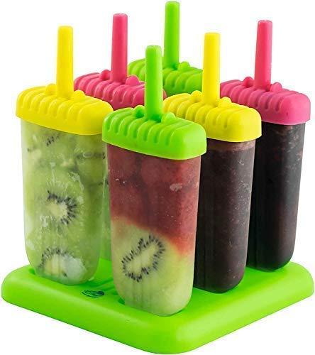 Evercrafting Juego de 6 Fabricantes de paletas de Hielo Reutilizables de plástico, Bandeja de moldes Helado congelado de paletas caseras Kulfi Candy Ice Lolly Mold para niños y Adultos (Multicolor)