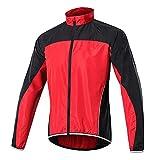 Chaqueta de ciclismo para hombre, resistente a la intemperie, con paneles de malla, parte trasera de cucharada, ideal para correr, ciclismo (rojo, XL)