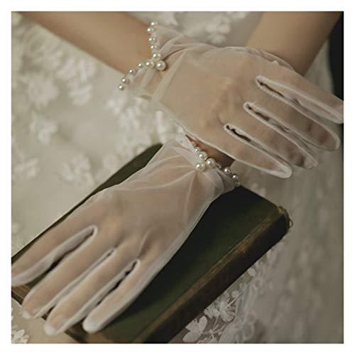 JYDZSW Summer sun protection gloves UV Cycling Riding Sunscreen Gloves Summer Women Slim Short Transparent Mesh Retro Evening Dress Gloves (Farbe : K12 White)