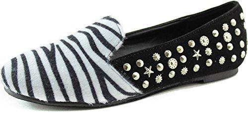Nature Breeze Women's Leila-15 Zebra Star Spiked Loafers Shoes, Zebra, 8.5