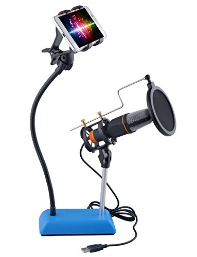[Upgraded] DuaFire Cell Phone Microphone Stand with Pop Filter Mask, Adjustable 360° Swivel Holder
