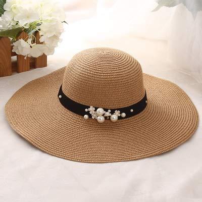 Sombreros de paja de ala ancha de rafia con parte superior redonda de 2021 para mujer con ocio de playa, sombrero de sol plano para mujer (color: caqui)