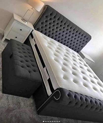 Sleigh Bed Frame in Plush Velvet Fabric STEEL CHARCOAL GREY Matching Fabric Buttons Double Size Bed Frame 4'6 inches