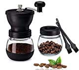 Manual Coffee Grinder, Hand Coffee Grinder with Ceramic Burrs, Stainless Steel Handle Adjustable Hand Coffee Mill, Coffee Grinder Manual with 2 Glass Jars for Home Office and Travelling