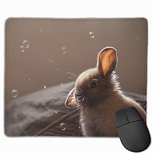 Mouse Pad Anti-Slip Mousepad Bunny Rabbit Animal Gaming Mouse Mat Pads with Stitched Edge Cute Funny Personalized Novel for Working Game Office Study PC Computers