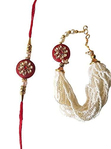 Manbhar Gems - Beautiful Designer Elegant Pearl with Seed Bead Kundan Rakhi for Bhaiya Bhabhi Rakhi Matching Lumba Traditional...