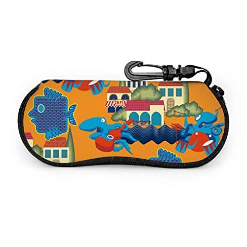 Estuche para gafas Romántico colorido con vista al mar Villa Estuche suave para anteojos para mujeres Estuche para gafas Estuche ligero portátil Estuche para anteojos para mujeres, 17x8cm