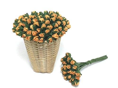 Mr_air_thai_Artificial_Flowers 1Paket 50Stück Orange Tiny Rose Mulberry Papier Flower Scrapbook Craft 5mm Karte Hochzeit Puppenhaus