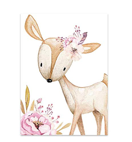 Fox Deer Baby Animal Canvas Painting Girl's Custom Name Poster Nursery Wall Art Print Pink Flower Picture Decoración de la pared de la habitación del bebé 40 × 60 sin marco