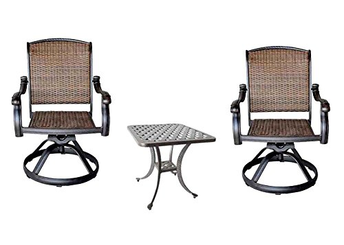 3 Piece Bistro Set Cast Aluminum Patio Furniture Outdoor 2 Santa Clara Swivel Rocker's - Nassau End Table