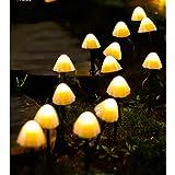 Wandskllss Solar String Lights Mushroom Lights Waterproof Outdoor Garden Lights Fairy Lights Garden Fairy Lights Decorative Lighting Strings Warm White 3.5M