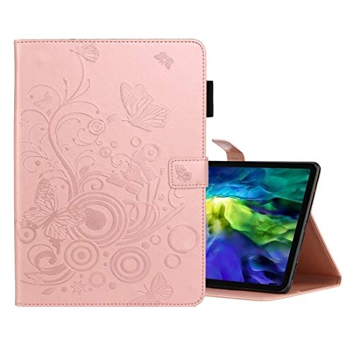 LESLEY LM For Butterflies Embossing Pattern Horizontal Flip Leather Case with Holder & Card Slot iPad Pro 11 (2020) 2021 NEW MODEL (Color : Rose Gold)