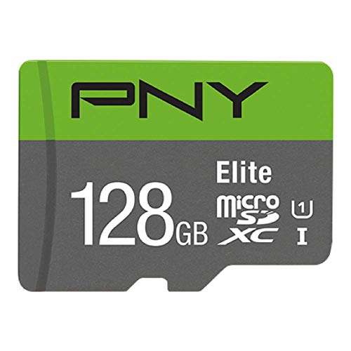 PNY Elite 128GB microSDXC-Speicherkarte + SD-Adapter, 100MB/s Lesegeschwindigkeit, Klasse 10 UHS-I, U1, A1 App Performance, V10 für Full-HD-Video