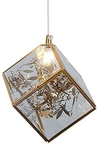 hwljxn Luce a sospensione a mosaico quadrato in vetro, base in ottone + in lega di imitazione fiori ed erba adornano, paralume vitreo trasparente, luci a sospensione creativa nordica per camera da let