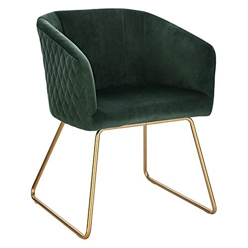 WOLTU BH271dgn-1 1 Esszimmerstühle Küchenstuhl Polsterstuhl Wohnzimmerstuhl Sessel mit Armlehne, Sitzfläche aus Samt, Metall Gold Beine, Dunkelgrün